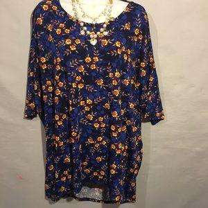 LuLaRoe Irma shirt size 2X blue and yellow